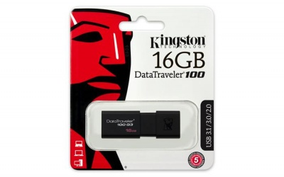 "Pendrive, 16GB, USB 3.0, KINGSTON ""DT100 G3"", fekete"